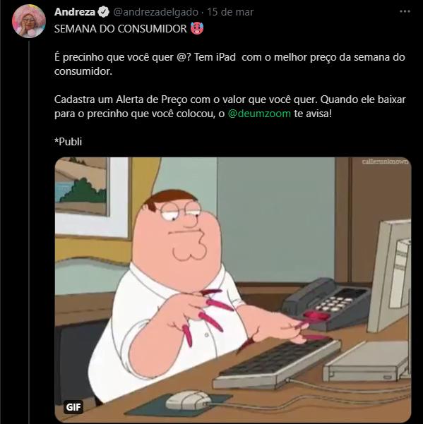Andreza Delgado em ação para Zoom no Twitter