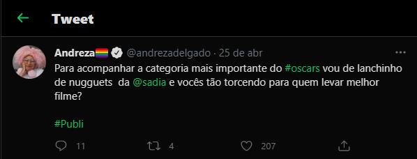 Andreza comenta live do Oscar no Twitter com Sadia