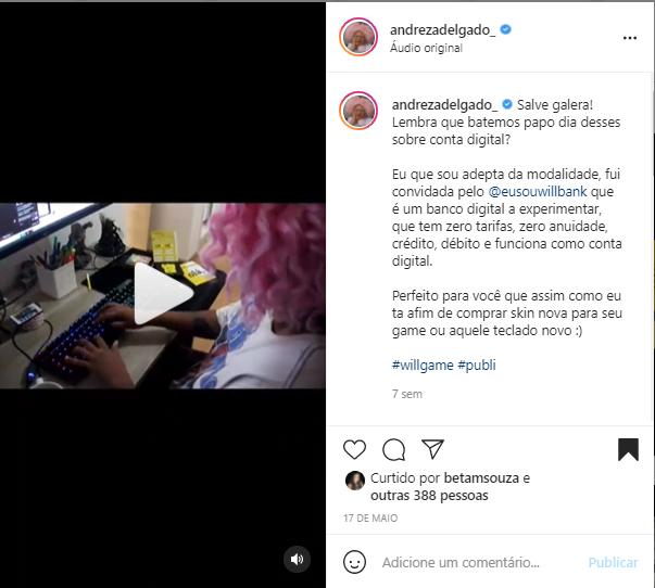 Andreza Delgado e Will Bank fazem Rolê Gamer no Instagram