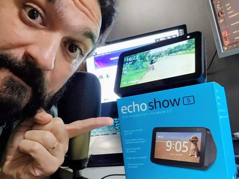 Diogo Braga mostra rotina com Alexa Echo Show 5 no Instagram